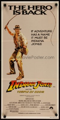 1330FF INDIANA JONES & THE TEMPLE OF DOOM Aust daybill '84 art of Harrison Ford, the hero is back!