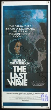 1153FF LAST WAVE Aust daybill '77 Peter Weir cult classic, Richard Chamberlain in skull image!