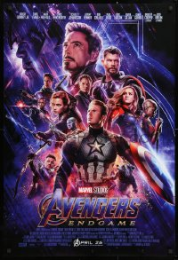 2678UF AVENGERS: ENDGAME advance DS 1sh 2019 Marvel Comics, cool montage with Hemsworth & top cast!