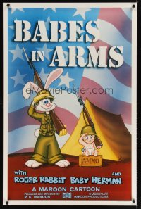 1530UF BABES IN ARMS Kilian 1sh '88 Roger Rabbit & Baby Herman in Army uniform with rifles!