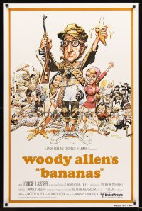 1206UF BANANAS int'l 1sh R80 great artwork of Woody Allen by E.C. Comics artist Jack Davis!