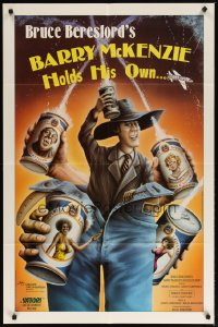 1279FF BARRY MCKENZIE HOLDS HIS OWN 1sh '85 wacky art of man in too-big blue jeans, beer cans!