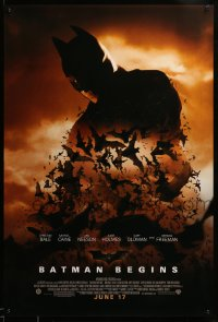 2035UF BATMAN BEGINS advance 1sh '05 June 17, image of Christian Bale's head surrounded by bats!