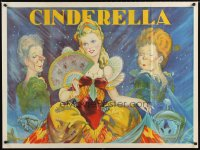 1645UF CINDERELLA stage play British quad '30s beautiful stone litho with her wicked step-sisters!
