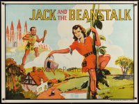 1646UF JACK & THE BEANSTALK stage play British quad '30s stone litho art of female Jack & giant!
