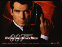 2496UF TOMORROW NEVER DIES teaser DS British quad '97 super close Pierce Brosnan as James Bond 007!