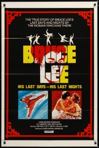 1386TF BRUCE LEE HIS LAST DAYS - HIS LAST NIGHTS 1sh '76 cool martial arts artwork!