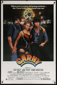 0078UF CARNY 1sh '80 Jodie Foster, Robbie Robertson, Gary Busey in carnival clown make up!