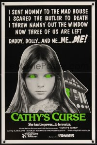 0079TF CATHY'S CURSE 1sh '77 creepy image of Linda Koot, she has the power to terrorize!