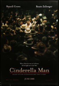 2076UF CINDERELLA MAN teaser DS 1sh '05 Ron Howard directed, Russell Crowe in crowd, boxing!