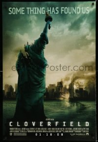 2079UF CLOVERFIELD advance DS 1sh '08 wild image of destroyed New York & Lady Liberty decapitated!