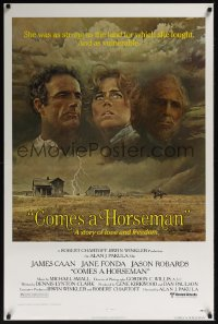 0087UF COMES A HORSEMAN 1sh '78 cool art of James Caan, Jane Fonda & Jason Robards in the sky!