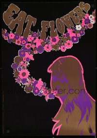 2471UF EAT FLOWERS foil 21x29 Dutch commercial poster '60s psychedelic art of pretty woman & flowers