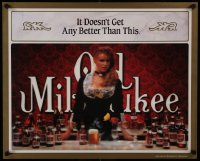2449UF OLD MILWAUKEE 22x27 commercial poster '89 great image of sexy bar wench w/many beer bottles!