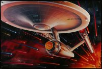 2656UF STAR TREK CREW 27x40 commercial poster 1991 the Starship Enterprise traveling through space!