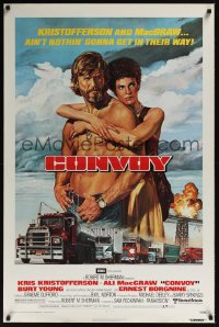 0092UF CONVOY 1sh '78 art of barechested trucker Kris Kristofferson & sexy Ali McGraw!