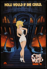 2083UF COOL WORLD teaser 1sh '92 cartoon art of Kim Basinger as Holli, she would if she could!