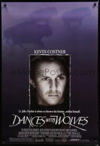 1558UF DANCES WITH WOLVES DS 1sh '90 close portrait of Kevin Costner & running buffalo!
