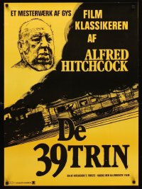 1239UF 39 STEPS Danish R70s different artwork of director Alfred Hitchcock & train!