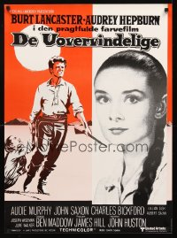 1244UF UNFORGIVEN Danish R70s different art of Burt Lancaster & Audrey Hepburn, John Huston!