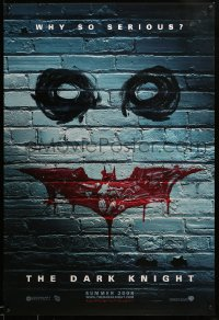 2091UF DARK KNIGHT teaser 1sh '08 why so serious? cool graffiti image of the Joker's face!