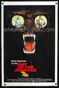0683FF DAY OF THE ANIMALS style B int'l 1sh '77 really wild art of crazed beast out for revenge!