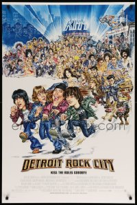 2101UF DETROIT ROCK CITY DS 1sh '99 KISS, great wacky retro caricature art by Phil Roberts!