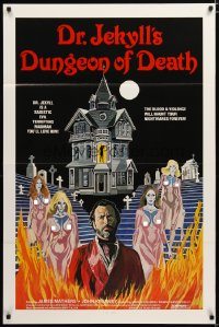 1401TF DR. JEKYLL'S DUNGEON OF DEATH 1sh '82 sexy art, blood & violence will haunt you forever!