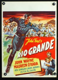 0822UF RIO GRANDE Dutch '50 artwork of John Wayne running with bayonet, directed by John Ford!
