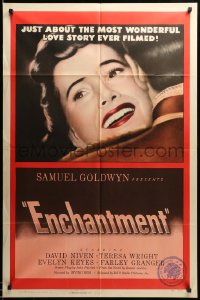 2109FF ENCHANTMENT 1sh '49 super c/u art of happy Teresa Wright, from Rumer Godden novel!