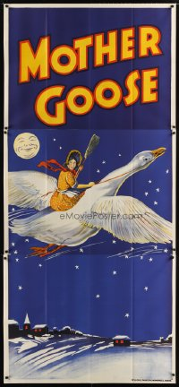 1508TF MOTHER GOOSE stage play English 3sh '30s stone litho art of mom holding broom & riding goose!