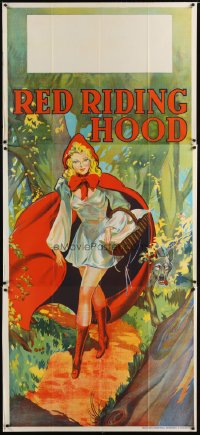 1509TF RED RIDING HOOD stage play English 3sh '30s stone litho of sexy Red w/wolf trailing behind!
