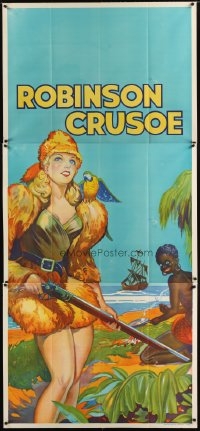 1511TF ROBINSON CRUSOE stage play English 3sh '30s full-length w/Friday & bird by ship at sea!