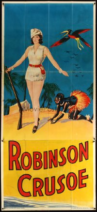 1510TF ROBINSON CRUSOE stage play English 3sh '30s full-length w/Friday & bird by cabin!