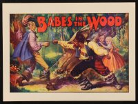 1342 BABES IN THE WOOD stage play English herald '30s art of lost kids watching men fight!