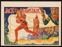 1347 JACK & THE BEANSTALK red style stage play English herald '30s art of female Jack by Rusby!