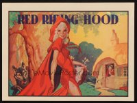 1348 RED RIDING HOOD blue title stage play English herald '30s sexy Red with wolf trailing behind!