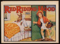 1349 RED RIDING HOOD red title stage play English herald '30s art of Red & wolf in bed by Rusby!