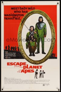 0132TF ESCAPE FROM THE PLANET OF THE APES 1sh '71 meet Baby Milo who has Washington terrified!