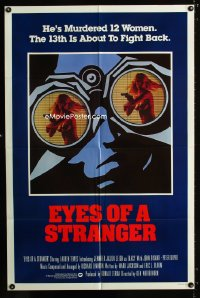 0699FF EYES OF A STRANGER int'l 1sh '81 sexy voyeur art of nearly-naked girl with gun in binoculars!