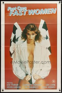 1411TF FAST CARS FAST WOMEN 1sh '81 sexy girl wearing racing jacket, Ron Jeremy, x-rated!