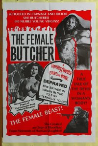 145FF FEMALE BUTCHER one-sheet '73 610 nubile virgins!