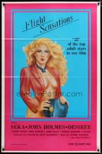 1412TF FLIGHT SENSATIONS 1sh '83 John Holmes, art of sexiest airline hostess by Jeannie Dorsey!
