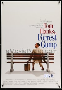 2122UF FORREST GUMP advance DS 1sh '94 classic image of Tom Hanks sitting on bench, Robert Zemeckis!