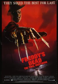 1567UF FREDDY'S DEAD 1sh '91 great close up Freddy Krueger wearing hat, claws & sweater!