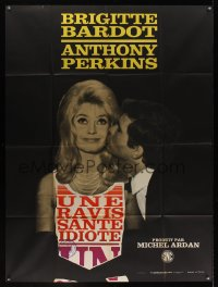 1178FF AGENT 38-24-36 French 1p '65 art of Tony Perkins & sexy Brigitte Bardot by Clement Hurel!