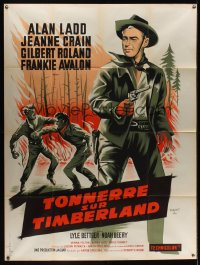 1180FF GUNS OF THE TIMBERLAND French 1p '60s cool different artwork of Alan Ladd by P. Marty!