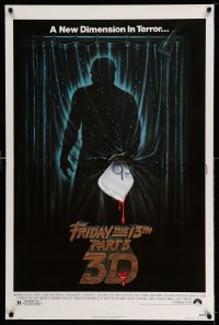 2123UF FRIDAY THE 13th PART 3 - 3D 1sh '82 slasher sequel, art of Jason stabbing through shower!