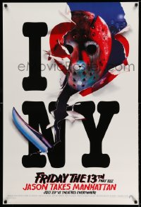 2126UF FRIDAY THE 13th PART VIII recalled teaser 1sh '89 Jason Takes Manhattan, I Love NY!