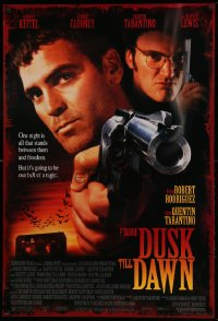 2127UF FROM DUSK TILL DAWN DS 1sh '95 George Clooney with smoking gun & Quentin Tarantino, vampires!
